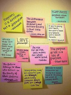 Maybe fill up a picture frame with sticky notes filled with quotes
