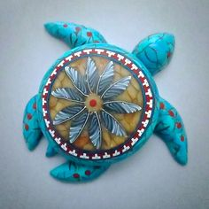 https://flic.kr/p/BYix3z | Large Turquoise Sea Turtle w/Feather Medallion by Deb Hart #rengalsa