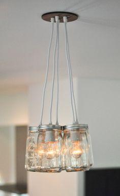 Mason Jar Light Chandelier - Five Jar Quart Size