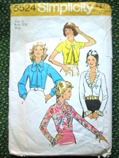 Simplicity 5524 blouse sewing pattern   Bust 32.5 by Fancywork, $7.00