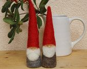 Felted Christmas Gnome figurine - Waldorf Inspired -Red and Green. $17.00, via Etsy.