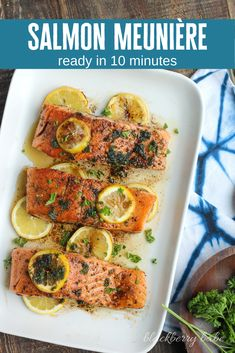 SalmonMeunière is a simple, keto friendly way to prepare fresh salmon. Using just a few ingredients, fresh lemon and herbs, this SalmonMeunière recipe is ready in about 10 minutes.  Keto Salmon | Keto Fish | Keto Recipe | Salmon Meuniere | Easy Salmon Recipe | Lemon Butter Salmon | Stovetop Salmon