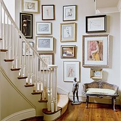 A gallery wall lining a staircase creates a very special space in the house. Find art for any taste by independent designers at Redbubble.com.