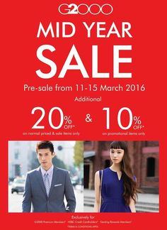 11-15 Mar 2016: G2000 Mid Year Sale