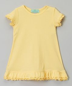 This Light Yellow Ruffle A-Line Dress - Infant, Toddler & Girls is perfect! #zulilyfinds