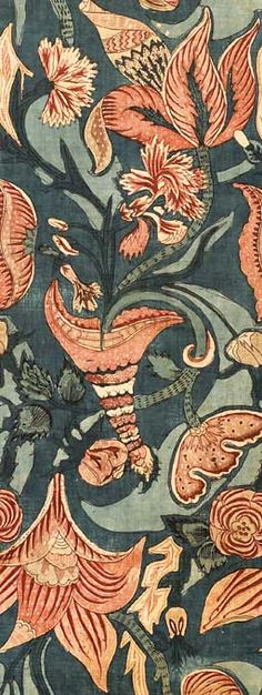 PAINTED-AND-DYED COTTON CHINTZ PANEL WITH BIZARRE PATTERN