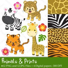 Animals & Prints Clipart & Digital papers