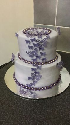 This year's birthday cake for my daughter she loves butterflies and the colour purple
