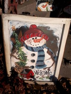 Hand painted snowman window by casey sims