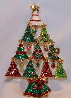 Vintage Style Rhinestone Enamel Christmas Tree Pin Peace Sign Noel NWOT