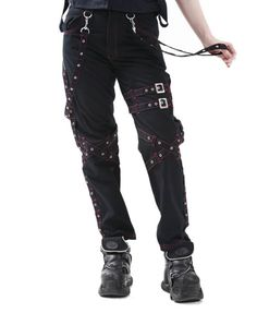 Dead Threads Pink Grommet Bondage Pants  From Dead Threads UK.  Bondage pants with pink-contrast stitching and features grommet straps over the legs and sides. Zippers on the backs of the legs to make them skin tight!  Removable bondage straps.