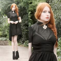 Os Accessories Purity Choker, Evil Twin Bralet, Widow Sheer Dip Hem Dress, Missguided Lace Up Heels