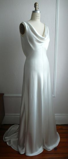 "1930's Inspired Bias Bridal Gown ""Ella"", Low back, Backless, Cowl neck, Heavy Silk Satin, Customizable. $1,558.00, via Etsy."