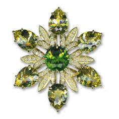 Brooch made of peridot, lemon citrine, and diamonds by Bielka