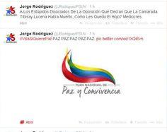 El Pacífico/respetuoso twitt de @JRodriguezPSUV con error ortográfico incluido antecedido x imagen PAZ #MuyCoherente