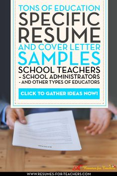Lots of education resumes and cover letters for elementary teachers, high school teachers, principals, administrators media librarians, art teachers, physical education teachers, music teachers, special education teachers, college instructors. Examples of resume and cover letter formats, designs, icons and styles. A+ Resumes for Teachers http://resumes-for-teachers.com/teacher-resume-examples.htm