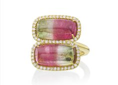 """Two cabochon watermelon tourmalines with diamond surrounds are used to create this """"Kiss"""" ring in 18K yellow gold by New York-based Lauren K."""