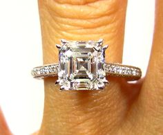 $13,500 - GIA Certified Estate Vintage 2.51ct Solitaire ASSCHER, Square Emerald Cut Diamond Engagement Wedding Ring in Pave Diamond Setting. $13,500