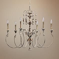 """Quorum Salento 6-Light 32"""" Wide Persian White Chandelier--love this for over the dining table!"""