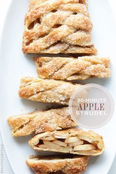 "30-MINUTE APPLE STRUDEL - ""... if you are tired of apples, try swapping out the apples and cinnamon for pears and cardamom, or persimmons with cinnamon and Grand Marnier."""