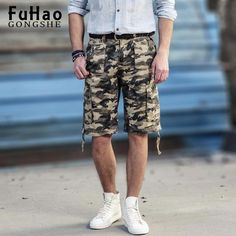 FuzWeb:Newest Casual Camouflage Loose Cargo Shorts Men Military Shorts Plus Size Shorts Men