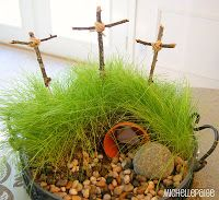 Christian Easter gardenscape - make the cave more realistic not just a cup, and use rock not sphere