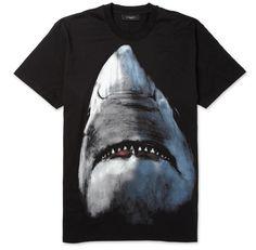 (GIVENCHY) SHARK-PRINT COTTON-JERSEY T-SHIRT
