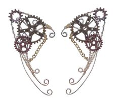 These flawlessly formed Elf Ear Cuffs are made of aluminium with copper and multi color gears at the top! Handcrafted from metal wire, the additional gears make it look exceptionally unique and the se