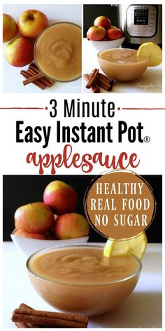3 MinuteInstantPot Applesauce! If you love applesauce, you've got to try this method. It's absolutely delicious and comes out perfect every time. | Recipes to Nourish // Instant Pot Recipes | Sugar Free Applesauce | Healthy Applesauce | Gluten Free Recipes | Grain Free Recipes | Healthy Snack Recipes  via @recipes2nourish