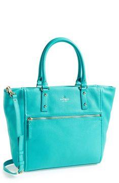 f57f5dea62 In love with this Kate Spade turquoise leather tote!!  #katespadeturquoisepurse Kate Spade Sac
