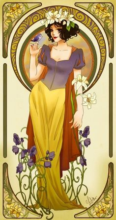 Alphonse Mucha/art nouveau inspired Disney Princess Snow White by SUE FEENEY