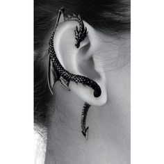 The Dragon Lure Orecchino ($22) ❤ liked on Polyvore featuring jewelry, earrings, piercings, ear cuff, ear cuff jewelry, gothic jewelry, earring ear cuff, gothic earrings and ear cuff earrings