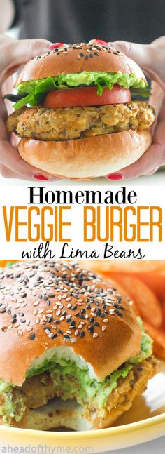 Homemade Veggie Burger with Lima Beans: You don't need to be vegetarian to enjoy a protein-packed, juicy and flavourful homemade veggie burger with lima beans.   aheadofthyme.com via @aheadofthyme