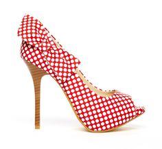 Red polka dot bow pinup heels
