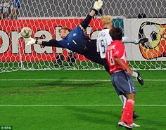 At full stretch: Oliver Kahn dives to his right to make a save in 2002, when he was awarded the Golden Ball  #futbol #football #soccer #Fußball #كرة القدم #ფეხბურთი #फुटबॉल #fútbol #calcio    #サッカー #fotball #futebol #футбол #ποδόσφαιρο #足球