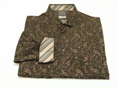 Thomas Dean XXL Flip Cuff Men's Floral Paisley Long Sleeve Multi-Color 2XL #ThomasDean #ButtonFront
