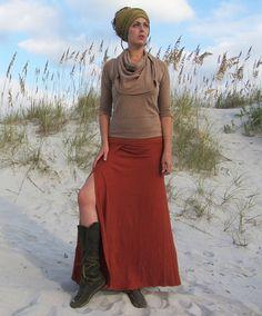 Long Faux Wrap Skirt hemp/organic cotton knit by gaiaconceptions, $162.00