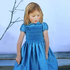81e3bb79a Hand Smocked Silk Dress Short Sleeve with Embroidered Collar by Isabel  Garreton