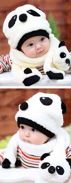 Panda Hat + Scarf ♥ SO cUte! #baby #winter #clothes #panda