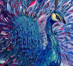 Peacock Modern Animal Art Painting Textured Palette por willsonart