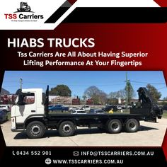 The HIAB Crane is tailor-made to suit you and your business' requirements. The HIAB Crane underlines TSS Carriers, and HIABS, commitment to offer cranes with the best performance and efficiency for your business and workload. For more Details:info@tsscarriers.com.au Book now: 0434 552 901  #hiab #hiabs #hiabhire #transportation #hiabtransport #sydney #portablecabins #delivery #containers #haibsinsydney #haibsservice #cranetruck #tsscarriers #tsstrucks #trucks Truck Mounted Crane, Portable Cabins, Business Requirements, Transportation Services, Cool Trucks, Peace Of Mind, Sydney, Australia, Delivery