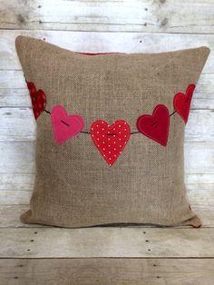 Valentine Heart Banner Burlap Pillow by Bella Gre Vintage