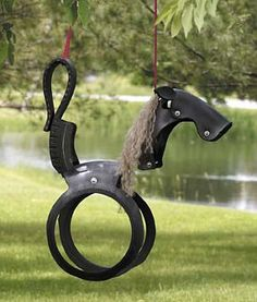 if we ever have a backyard again, I want a 100% recycled tire swing in the shape of a horse.     (But they also sell kangaroos, sharks & steers!)