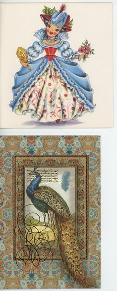 VINTAGE PRETTY FRENCH GIRL BLACK HAIR RINGLETS CRINOLINE CARD PRINT & 1 PEACOCK in Collectibles, Paper, Other Paper Collectibles | eBay