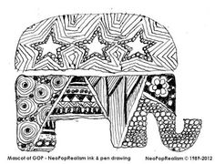 Election - GOP's mascot. NeoPopRealism ink & pen pattern drawing