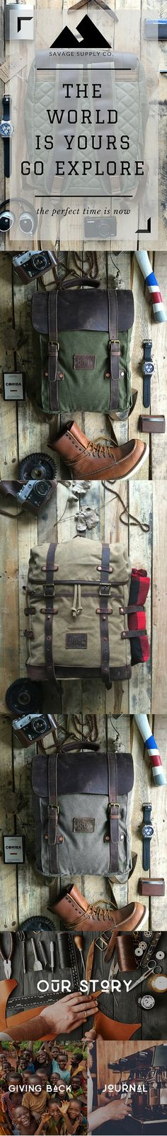 Adventure waxed canvas backpacks, rucksack, and more. Go and explore. By Savage Supply Co.