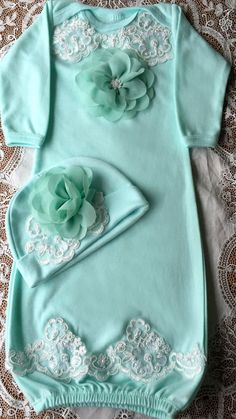 mint GOWN take home outfit with Hat baby sets by GailsBabygaga