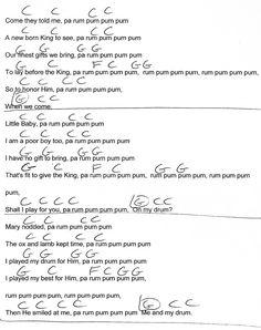 Little Drummer Boy (Christmas) C Major - Guitar Chord Chart with Lyrics - http://www.youtube.com/munsonmusiclive