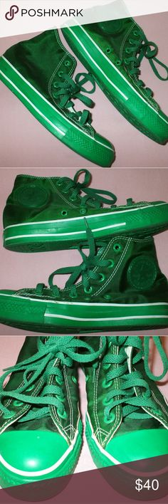 Green Shiny Converse High Top Shoes I wore these shoes once. They are in green condition. The fabric is shiny green. Really unique pair of Converse!! Men's size 5 / Women's size 7 - smoking home Converse Shoes Sneakers