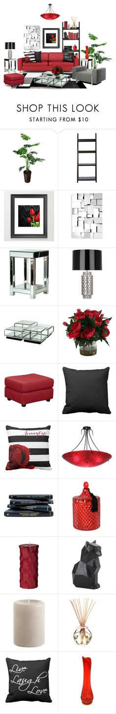 """Red & Reflective Living Area"" by colormegirly ❤ liked on Polyvore featuring interior, interiors, interior design, home, home decor, interior decorating, Home Decorators Collection, Zuo, Inno and Robert Abbey"